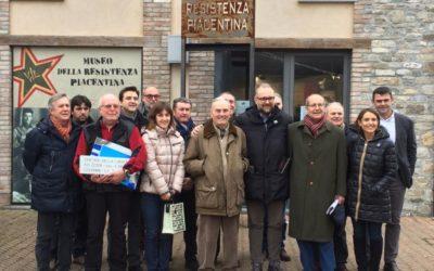 Molinari e Tarasconi in visita al museo della Resistenza a Sperongia di Morfasso con l'assessore Mezzetti